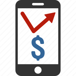 banking, business, mobile, phone, smartphone, stock market, trading icon