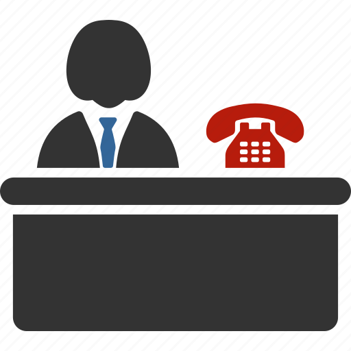 call center, clerk, desk, hotel lobby, office, reception, receptionist icon