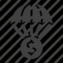 coin, money, parachute, fall, finance icon