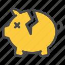 piggy, bank, finance, broken, money, crisis icon