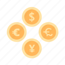 coin, currencies, exchange, financial, monetary system, money icon