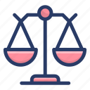 balance scale, equity, fairness, justice scale, law icon