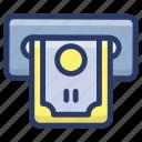 cash outlet, cash withdrawal, money transaction, money withdrawal, transaction icon