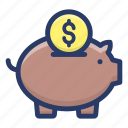money savings, penny bank, piggy bank, piggy bank loan, piggy money box, savings icon
