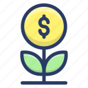 business growth, dollar plant, financial growth, money growth, money plant icon