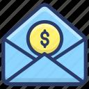 business envelope, business mail, cash envelope, monetize, payment envelope icon