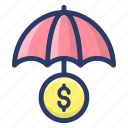 business insurance, financial insurance, insured business, money protection icon