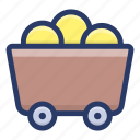 gold cart, gold mining, gold shopping, gold trolley, mine cart icon