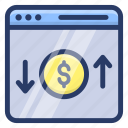 bank website, digital business, financial website, online banking, online money, online transaction icon