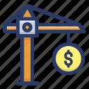 business crane, coin money crane, finance, lifting crane, money crane, money lifting, money management icon