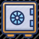 bank deposit, bank locker, bank safe, bank vault, safe box icon