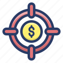 business strategy, business target, financial goal, financial target, planning goals icon