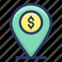 bank location, bank navigation, business location, financial direction, financial location, gps icon