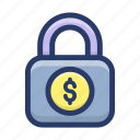 cash safety, financial security, money lock, money protection, payment protection icon