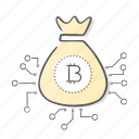 bag, bitcoin, internet, money, online icon
