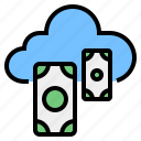 cash, cloud, financial, money, storage, transaction, withdrawal icon