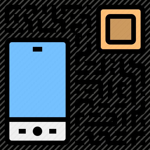 cash, code, financial, money, qr, smartphone, transaction icon