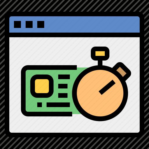 borrow, creditcard, financial, stopwatch, transaction, web icon