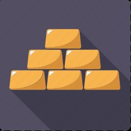 bullion, finance, gold, metal, precious, stack, wealth icon