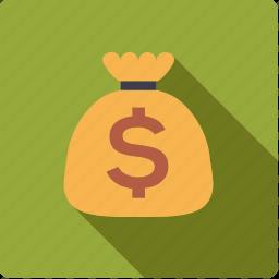cash, dollar, finance, money, money bag, sack icon