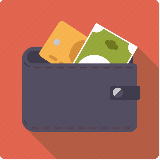 bill, cash, credit card, finance, leather, money, wallet icon