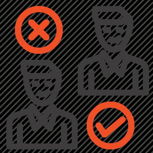 cancel, good, group, job, user icon
