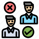 cancel, good, group, job, user icon