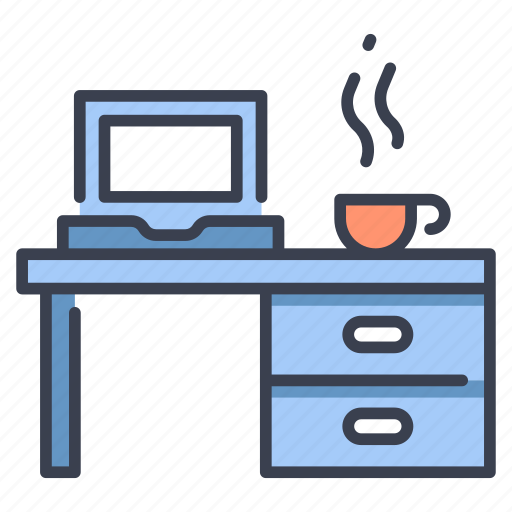 business, computer, cup, desk, laptop, office, work icon