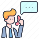 business, communication, conversation, interview, job, manager, phone icon