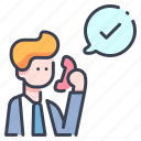 agree, approve, approved, business, phone, positive, success icon