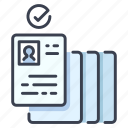 approve, approved, document, employee, employment, job, resume icon