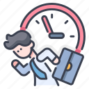 business, businessman, clock, deadline, punctuality, time, work icon