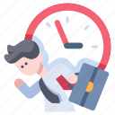 business, businessman, clock, deadline, meeting, punctuality, time icon