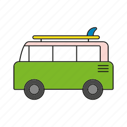 automobile, car, surfer, traffic, transportation, van, vehicle icon