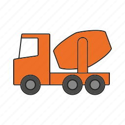 automobile, concrete truck, construction, traffic, transportation, truck, vehicle icon