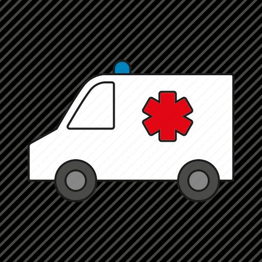 ambulance, automobile, medicine, traffic, transportation, van, vehicle icon