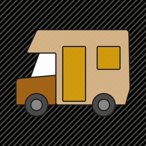 automobile, camper van, camping, motorhome, traffic, transportation, vehicle icon