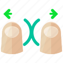 finger, in, touch, two, zoom, arrows, gesture