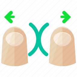 arrows, finger, gesture, in, touch, two, zoom icon