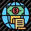 business, globe, invoice, money