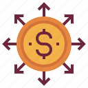 banking, coin, distribute, finance, financial, inclusion icon