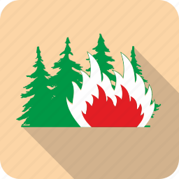 attention, danger, fire, flame, forest, warning icon