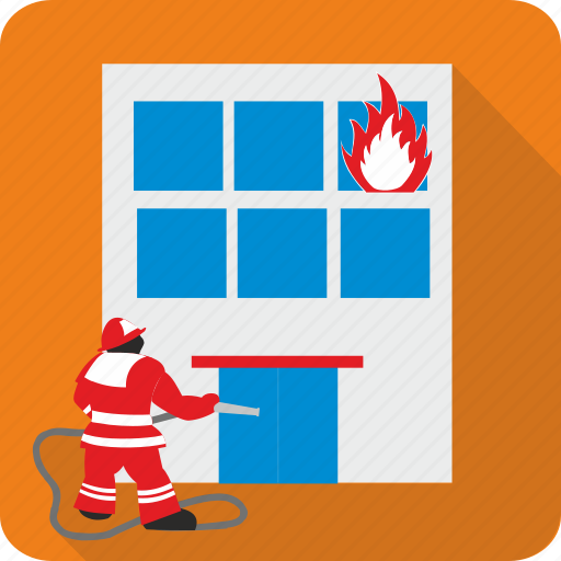 Fireman, fire, burn, flame, danger icon