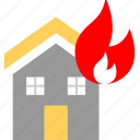 fire, house, on icon