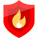 fire, hot, security, shield icon