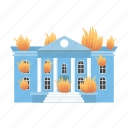 building, fire, flame, house icon