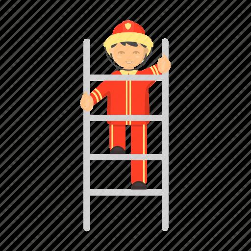 departfireman, extinguishingment, fire, ladder, uniform icon