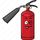 cartoon, emoji, extinguisher, face, fire icon