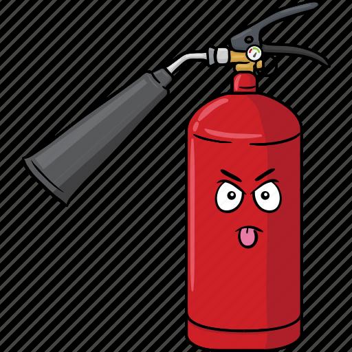 cartoon, emoji, extinguisher, face, fire icon