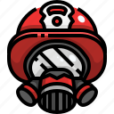 fireman, gear, helmet, mask, security, tools icon